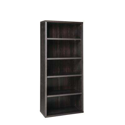 73 in. x 30 in. Black Walnut Decorative 5-Shelf Unit