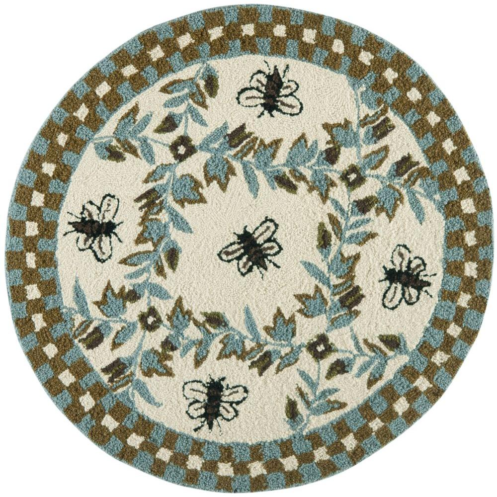Safavieh Chelsea Ivory/Teal 4 Ft. X 4 Ft. Round Area Rug