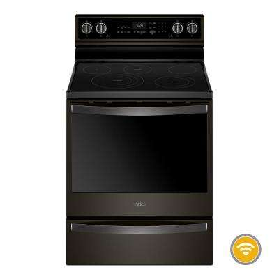 6.4 cu. ft. Smart Electric Range with Self-Cleaning Oven in Fingerprint Resistant Black Stainless
