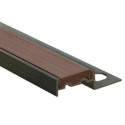 Novopeldano 1P PVC Cotton Brown 3/8 in. x 98-1/2 in. Aluminum-PVC Tile Edging Trim