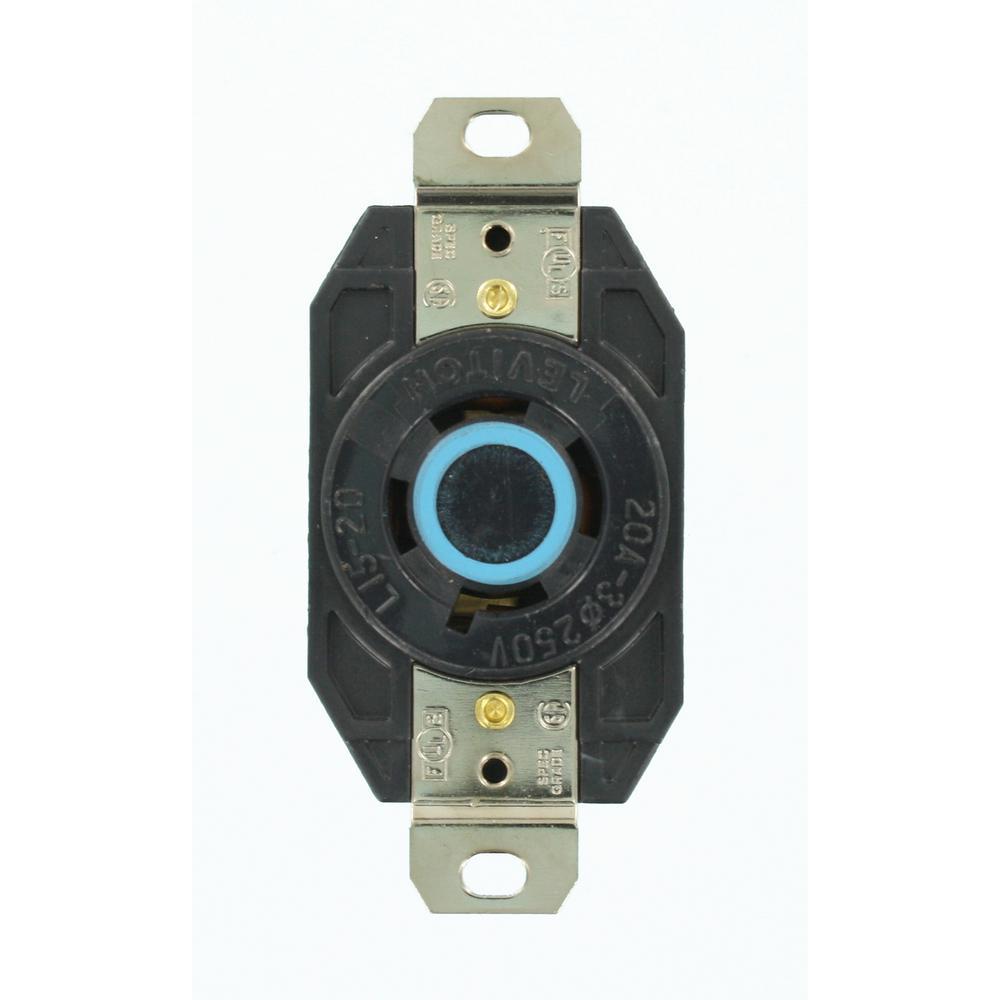 Leviton 20 Amp 250-volt 3-phase Flush Mounting Grounding Locking Outlet  Black-2420