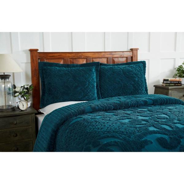 Better Trends Ashton 81 in. x 110 in. Teal Twin Bedspread