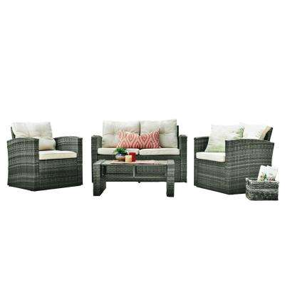 Harley 4-Piece Wicker Patio Conversation Set with Beige Cushions