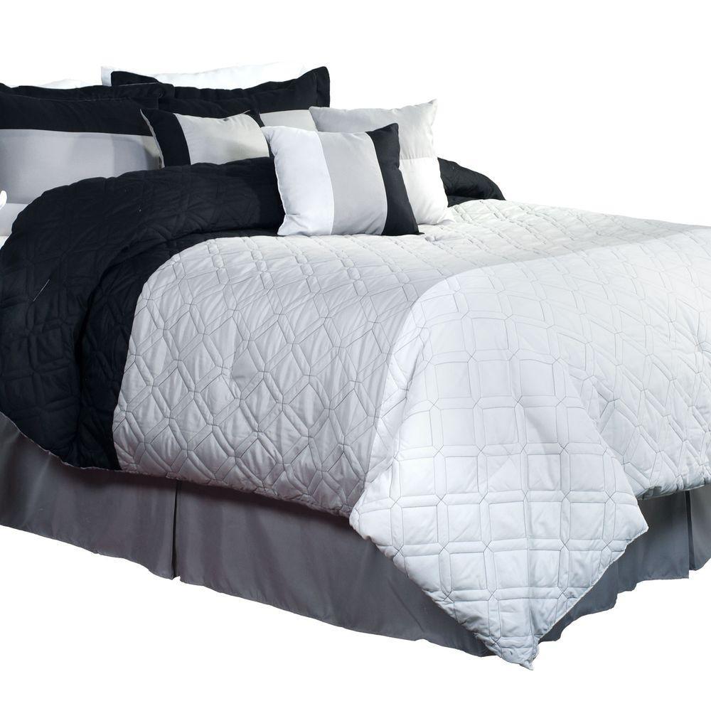 Emma 7-Piece Black, Grey and White Queen Comforter Set