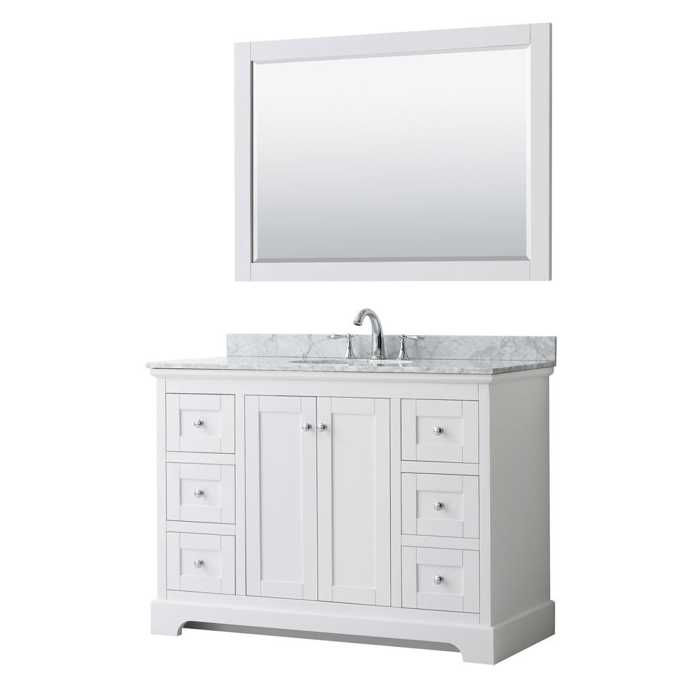 Wyndham Collection Avery 48 in. W x 22 in. D Bath Vanity in White with Marble Vanity Top in White Carrara with White Basin and Mirror