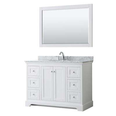 Avery 48 in. W x 22 in. D Bath Vanity in White with Marble Vanity Top in White Carrara with White Basin and Mirror