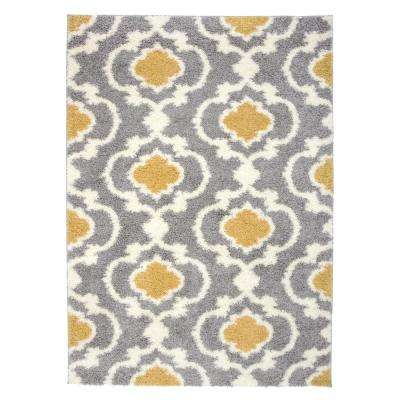 Moroccan Trellis Cozy Shag Yellow 7 ft. 10 in. x 10 ft. Indoor Area Rug