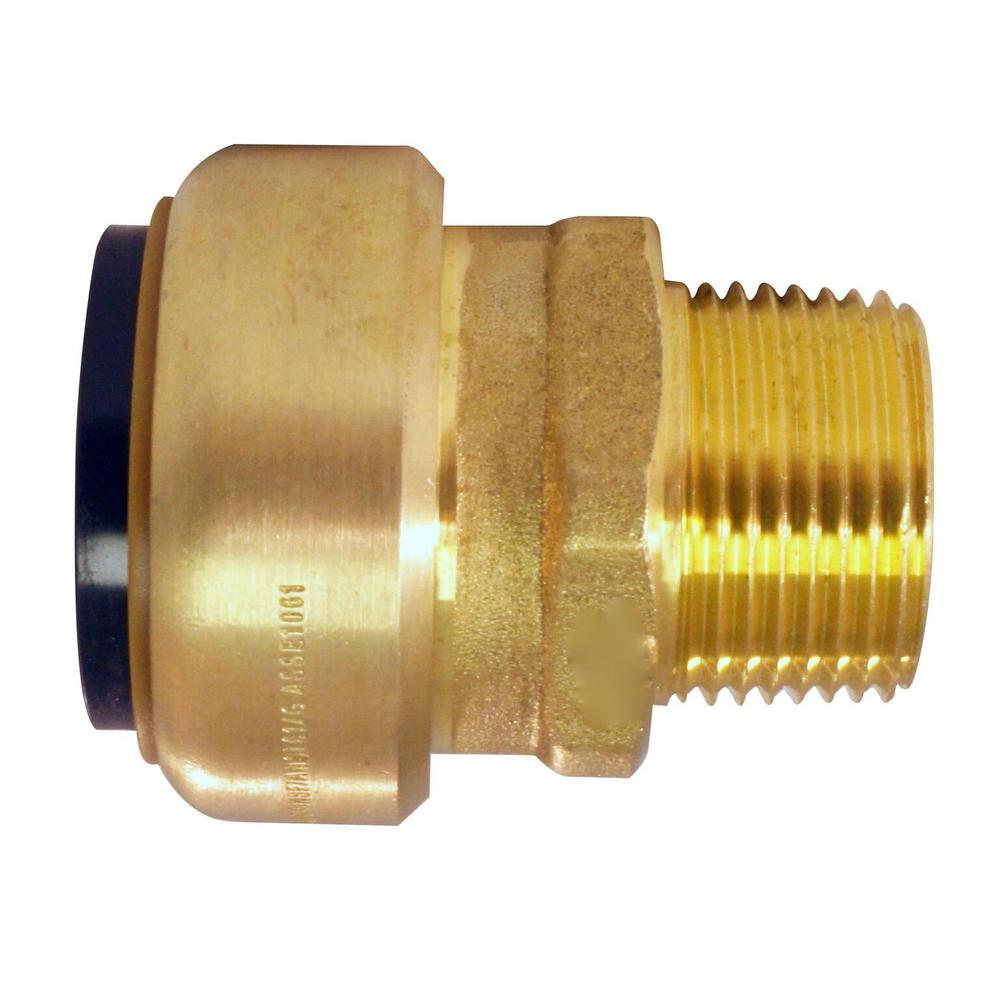 Tectite in brass push to connect male pipe