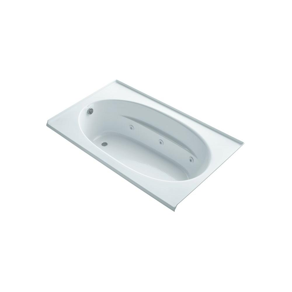 KOHLER Windward 6 ft. Rectangle Whirlpool Tub in White-K-1114-LH-0 ...