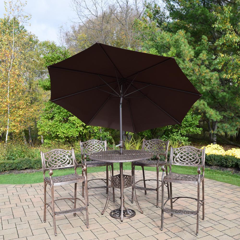 Aluminum 7-Piece Outdoor Bar Height Dining Set and Brown Umbrella