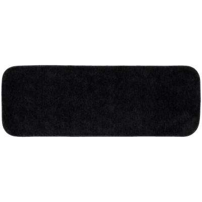 Traditional Black 22 in. x 60 in. Plush Nylon Bath Mat