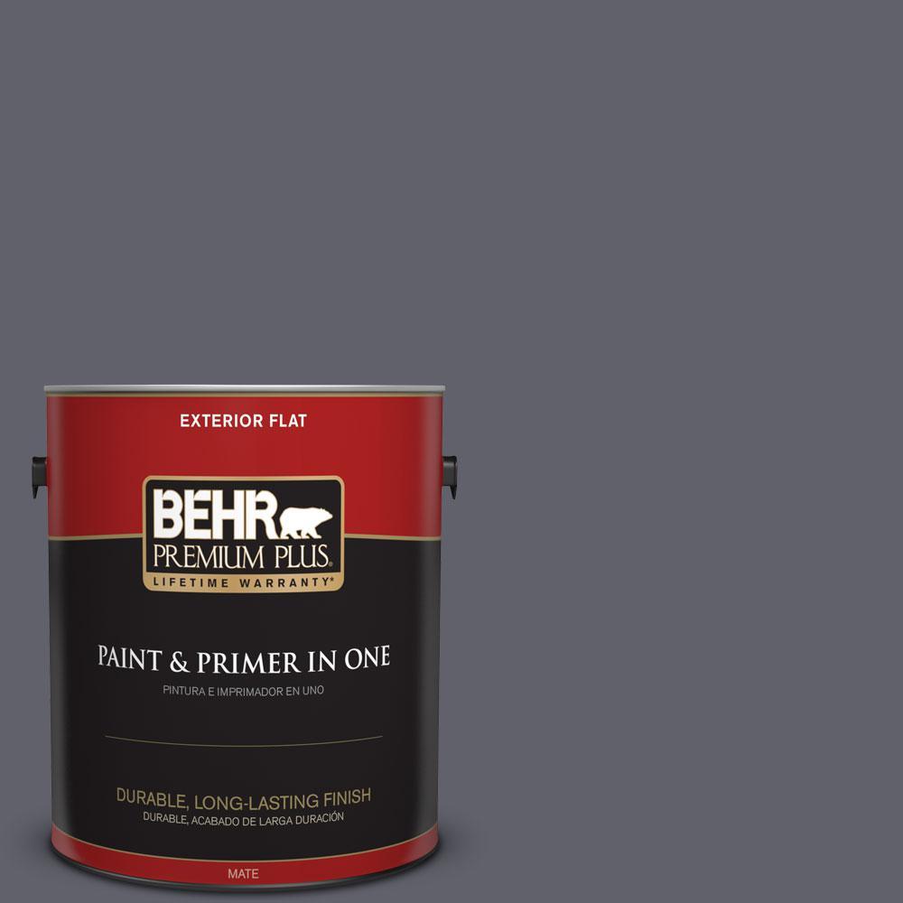 BEHR Premium Plus 1-gal. #N540-6 Script Ink Flat Exterior Paint