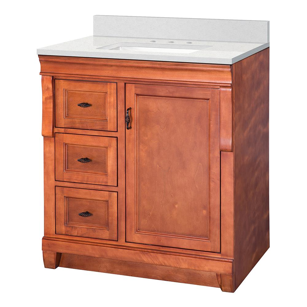 Home Decorators Collection Naples 31 in. W x 22 in. D Vanity Cabinet in Warm Cinnamon with Marble Vanity Top in Snowstorm with White Basin was $679.0 now $475.3 (30.0% off)
