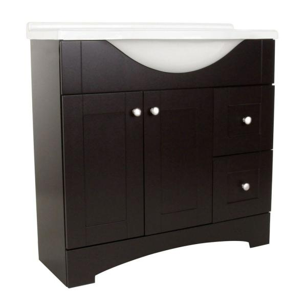 Del Mar 37 in. W x 36 in. H x 19 in. D Bathroom Vanity in Espresso with Cultured Marble White Vanity Top