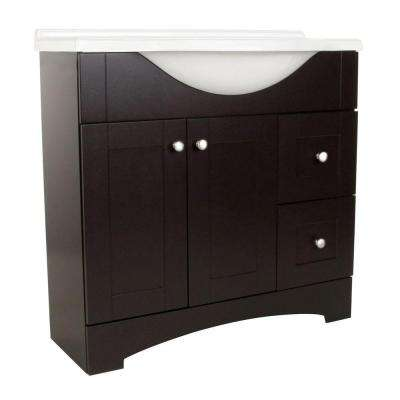 Del Mar 36 in. W x 36 in. H x 19 in. D Bathroom Vanity in Espresso with Cultured Marble White Vanity Top