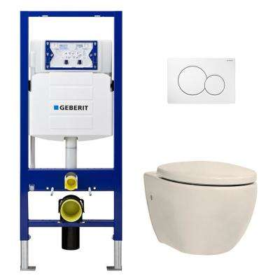 1.28 GPF Dual Flush 2-Piece Elongated Icera Toilet w/ Concealed Tank for 2x6 Construction and Dual-Flush Plate in Balsa