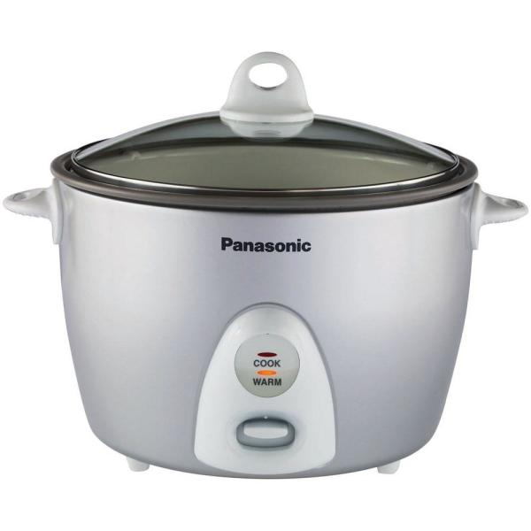Panasonic 10-Cup Rice Cooker/Steamer with Glass Lid in Silver SR-G18FGL