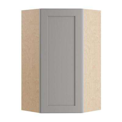Tremont Assembled 24x42x12 in. Diagonal Corner Wall Kitchen Cabinet with 1 Soft Close Door Right Hand in Pearl Gray