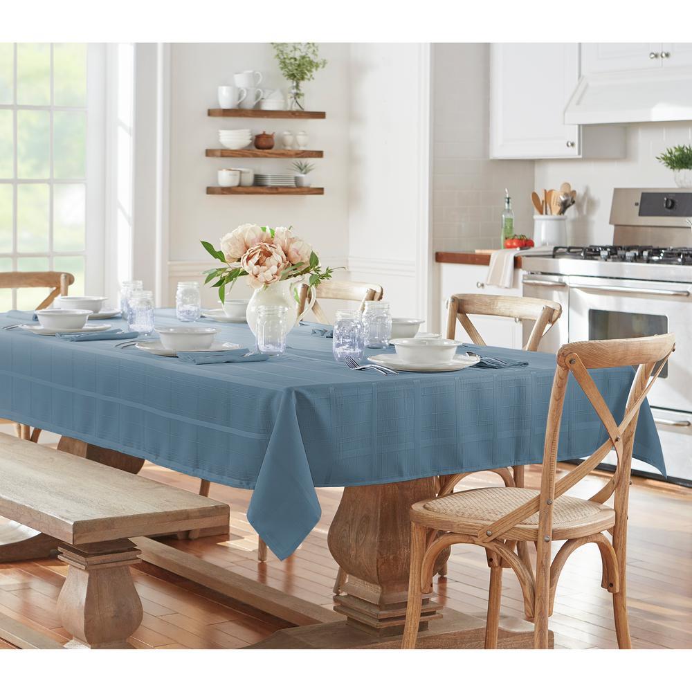 60 in. W x 84 in. L Oblong Blue Shadow Elrene Elegance Plaid Damask Fabric Tablecloth
