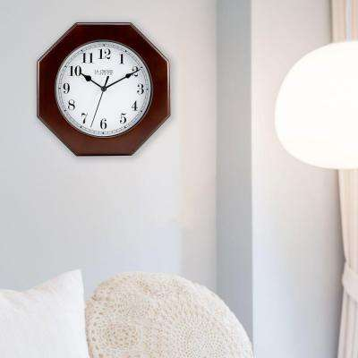 9.5 in. H Octagonal Wood Analog Wall Clock