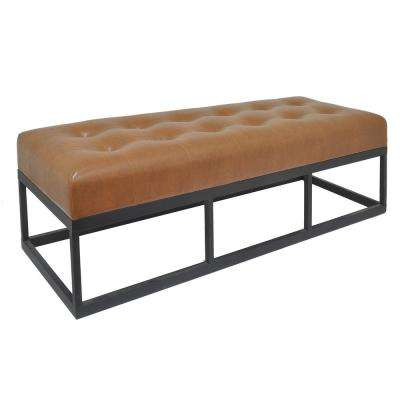 19 in. Brown Bench with Metal Frame
