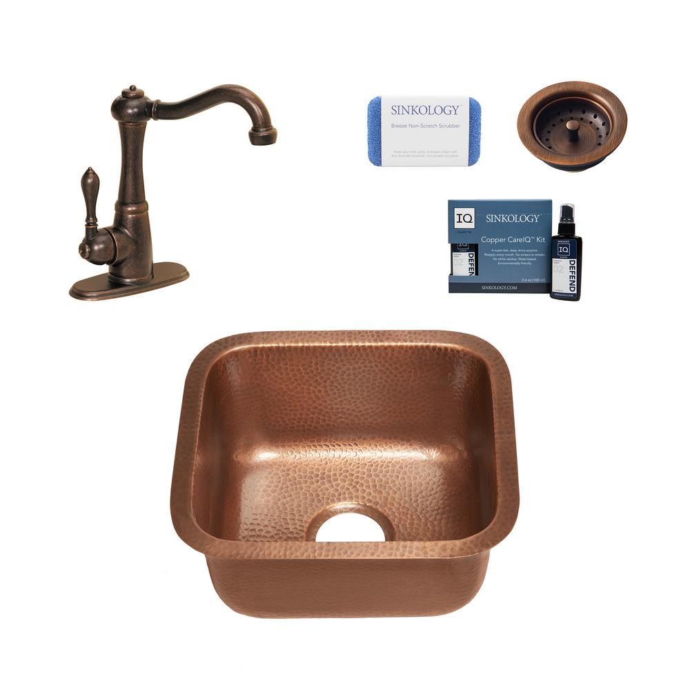 SINKOLOGY Sisley All-in-One Undermount 15 in. Single Bowl Copper Bar/Prep Kitchen Sink with Pfister Faucet and Strainer Drain