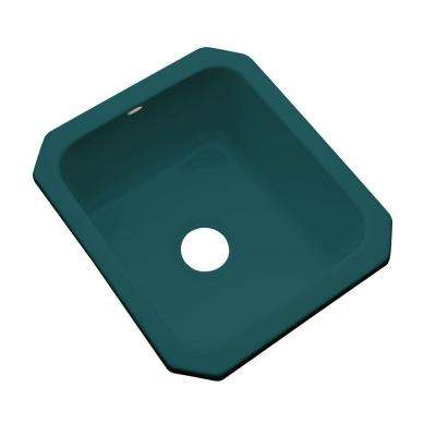 Crisfield Undermount Acrylic 17 in. Single Bowl Entertainment Sink in Teal
