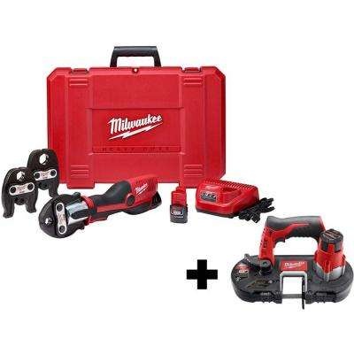 M12 12-Volt Lithium-Ion Force Logic Cordless Press Tool Kit (3 Jaws Included) with Free M12 Bandsaw