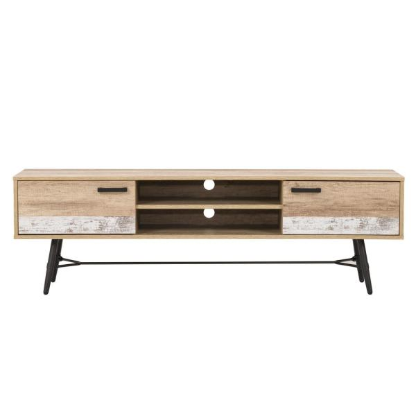 Aurora 71 in. Distressed Warm Beige and White Duotone Wood TV Stand Fits TVs Up to 80 in. with Storage Doors