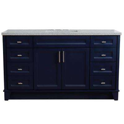 61 in. W x 22 in. D Single Bath Vanity in Blue with Granite Vanity Top in Gray with White Rectangle Basin