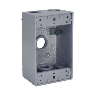 1-Gang Weatherproof Box, Four 1/2 in. Threaded Outlets, Gray