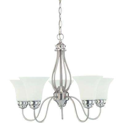 5-Light Brushed Nickel Chandelier with Frosted White Shade