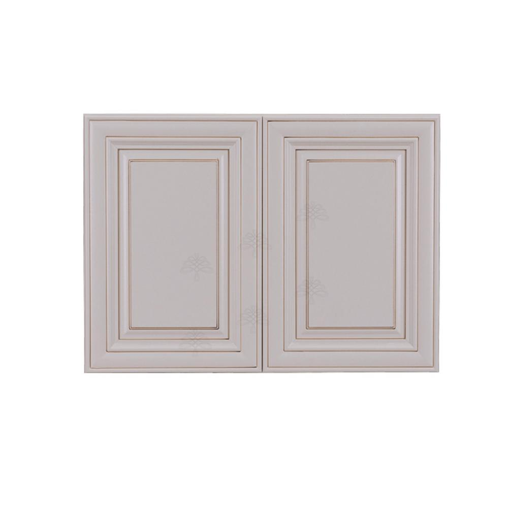LIFEART CABINETRY Princeton Assembled 33 in. x 24 in. x 12 in. 2-Door Wall Cabinet with 1-Shelves in Creamy White Glazed