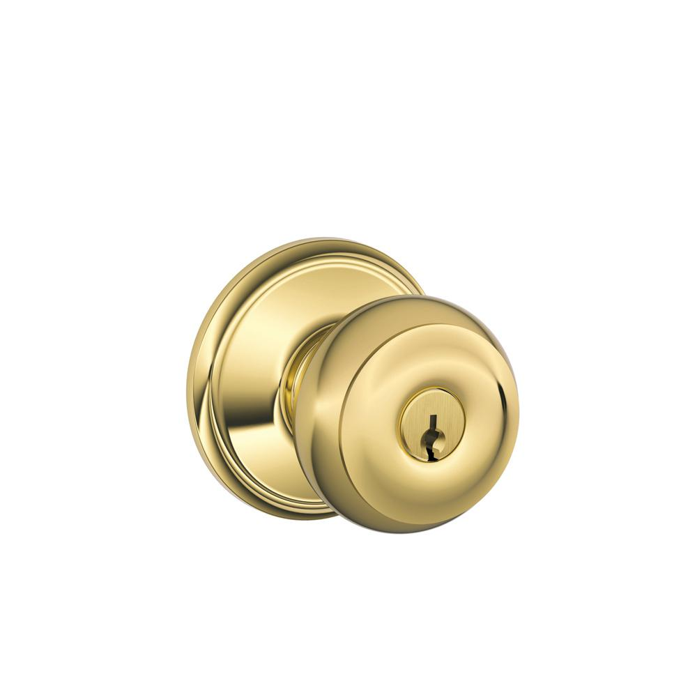 Schlage Georgian Bright Brass Keyed Entry Door Knob