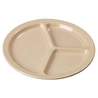 10 in. Diameter 0.75 in. H Melamine Compartmented Plate in Tan (Case of 48)