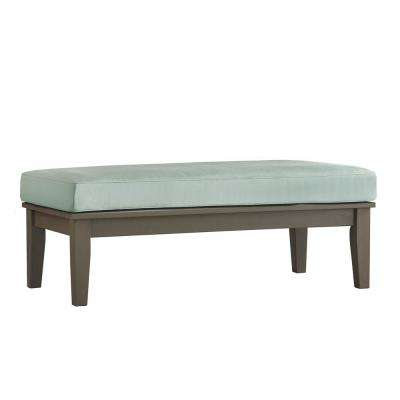 Verdon Gorge Gray Rectangular Wood Outdoor Coffee Table with Blue Cushion