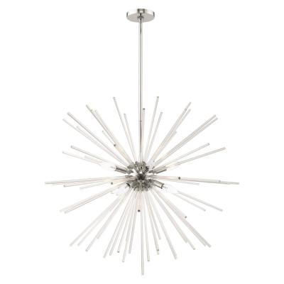 Utopia 8-Light Polished Chrome Starburst Pendant Chandelier with Clear Crystal Rods