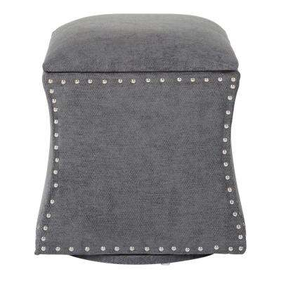 St. James Charcoal Fabric with Silver Nail-Heads Swivel Ottoman