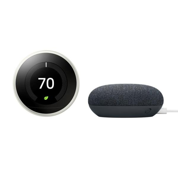 Nest Learning Thermostat 3rd Gen White + Nest Mini (2nd Gen) Smart Speaker Charcoal