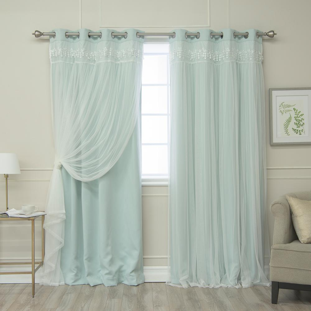 Best Home Fashion Mint 84 in. L Elis Lace Overlay Blackout Curtain ...