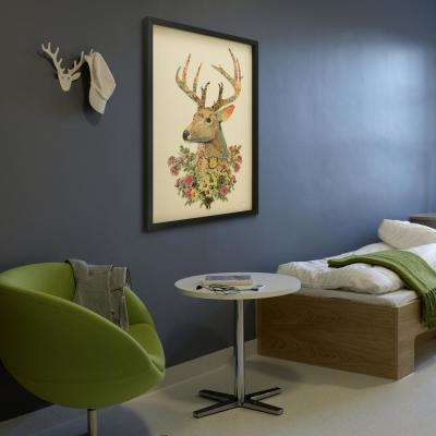 "26 in. x 34 in.""Mrs. Deer"" Hand Made Art Collage by Alex Zeng in Solid Wood Black Frame Wall Art"