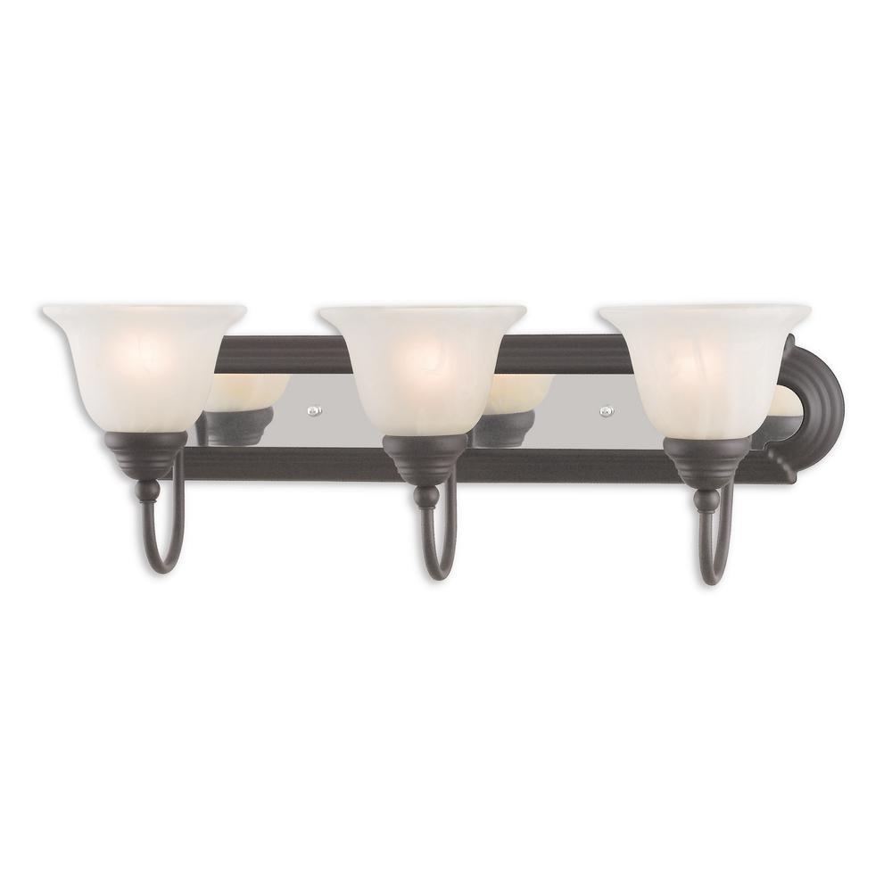Belmont 3-Light Bronze and Chrome Bath Light