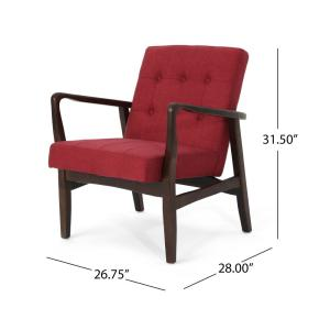 Phenomenal Noble House Marcola Mid Century Modern Button Back Red Lamtechconsult Wood Chair Design Ideas Lamtechconsultcom
