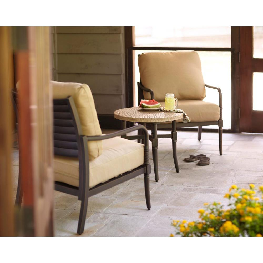 Hampton Bay Madison 3-Piece Patio Chat Set with Textured Golden Wheat Cushions-DISCONTINUED