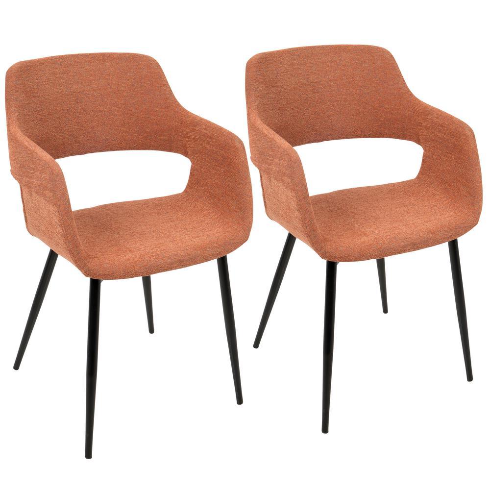 Lumisource Margarite Mid Century Orange Modern Dining/Accent Chair (Set Of 2 )