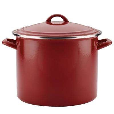 12 Qt. Enamel on Steel Stockpot in Sienna Red