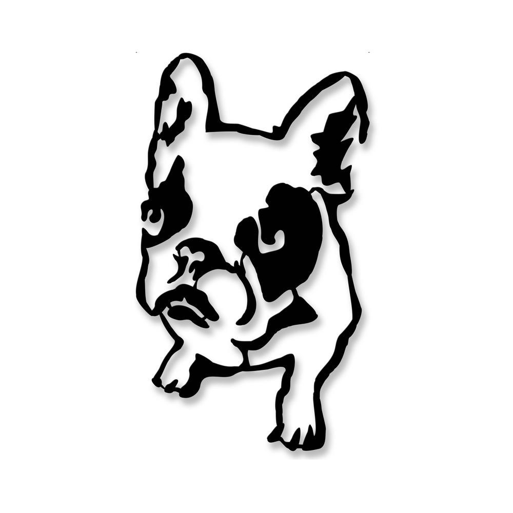 ada home decor bulldog black modern metal wall art-mwab1151