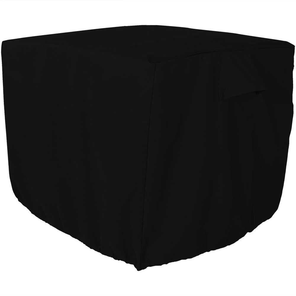 Sunnydaze Decor 34 in. x 30 in. Black Heavy-Duty Square Outdoor Air Conditioner Cover, Solid Black This square black air conditioner cover is thicker than standard covers, and will provide even more protection for outdoor central air conditioners. Made with 300D Polyester, this waterproof A/C cover can withstand all types of weather to prolong the life of the air conditioner. This cover is waterproof and weather-resistant and will fit square air conditioner units up to 34 in. square. With the toggle and drawstring feature, this allows the cover to adjust for the perfect fit flush against the air conditioning unit, even in windy conditions. The cover keeps water and ice as well as leaves and debris out of the inside of the unit. And, the cover is fitted with unique side vents to prevent lofting or mildew. Color: Solid Black.