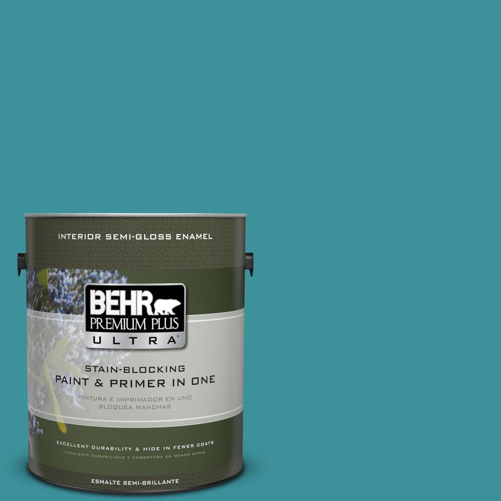 1 gal. #520D-6 Lagoon Semi-Gloss Enamel Interior Paint and Primer in