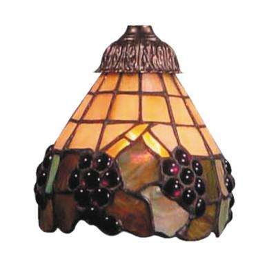 Mix-N-Match 1-Light Stained Honey Dune with Grape Accents Tiffany Glass Shade